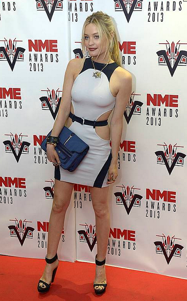 Laura Whitmore in skin tight white on the red capet