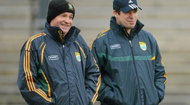 Manager Eamonn Fitmaurice (right) and selector Mikey Sheehy will be targeting an improved Kerry display against Kildare