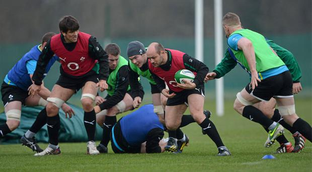 28 February: Rory Best in action with his team-mates during Ireland squad training ahead of their RBS Six Nations game against France on Saturday