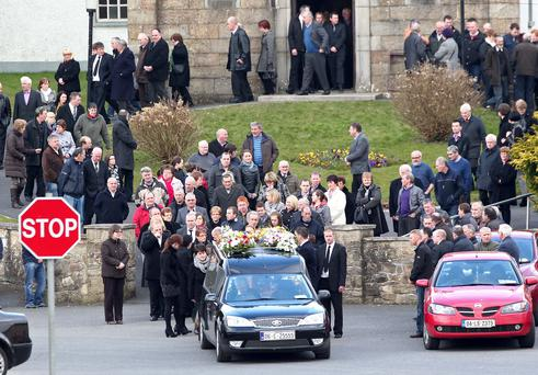 The funeral of John Deegan from Cloghan, near Birr Co. Offaly at St. Flannann's Church, Kinnitty