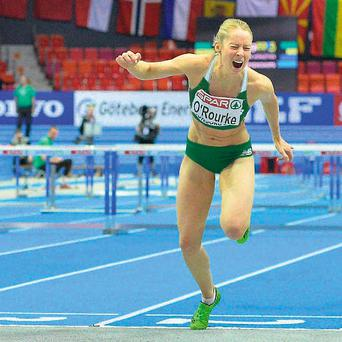 Derval O'Rourke finishes just one hundreth of a second outside of the medals at the European Indoor championships