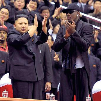 Dennis Rodman (right), with Kim Jong-Un at a basketball game in the North Korean capital, Pyongyang.