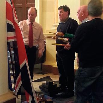 The Union flag on display inside Leinster House for the visit of John Bercow
