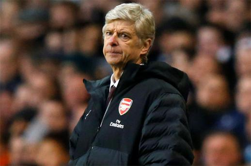 Arsenal manager Arsene Wenger reacts during the match