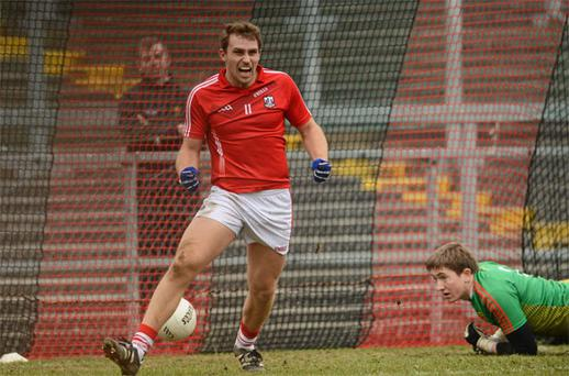 Cork's Ciaran Sheehan celebrates after scoring his last-minute, match-winning goal