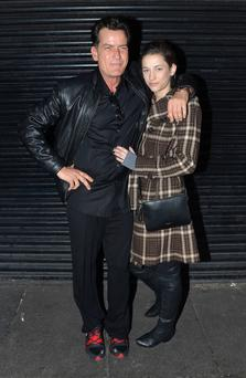 Charlie Sheen arrives with girlfriend Georgia Jones at the Stage Door of The Olympia Theatre for the Slash concert