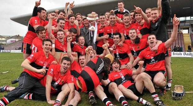 The victorious UCC players celebrate Saturday's Fitzgibbon Cup final victory over Limerick's Mary Immaculate College at Pearse Stadium