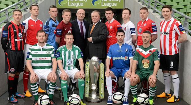 At the launch of the Airtricity League of Ireland were, back row, left to right, Keith Buckley, Bohemians, Ger O'Brien, St Patrick's Athletic, Michael Leahy, UCD, Eric Foley, Drogheda United, Aaron Greene, Sligo Rovers, Stephen O'Donnell, Dundalk, Glenn Cronin, Shelbourne, and Kevin Deery, Derry City. Front row, left to right, Pat Sullivan, Shamrock Rovers, Dean Zambra, Bray Wanderers, Stephen Bradley, Limerick FC, and Danny Murphy, Cork City