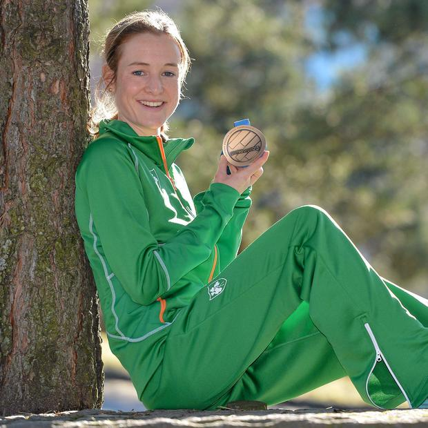 Ireland's Fionnuala Britton with the bronze medal she won in the Women's 3000m Final