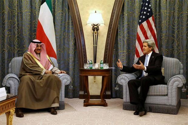 US Secretary of State John Kerry meets with Kuwait's Foreign Minister Sheikh Sabah Al-Sabah at a hotel in Riyadh