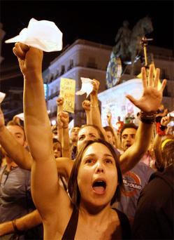 Young protesters take to the streets of Madrid to vent their frustration at the high rate of youth unemployment