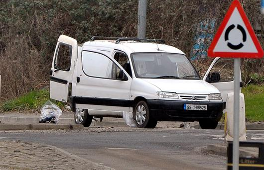 The van on the outskirts of Derry which contained mortars