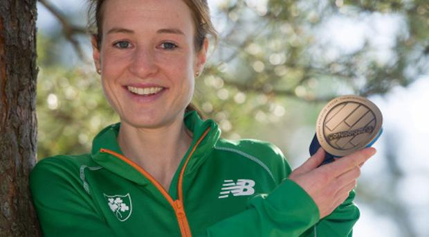Ireland's Fionnuala Britton with the bronze medal she won in the Women's 3000m Final at the European Indoor Athletics Championships.