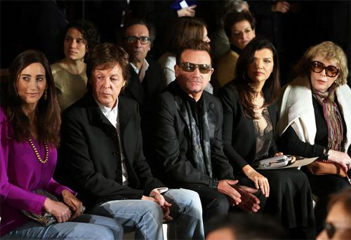 Nancy Shevell, Paul McCartney, Bono, Ali Hewson, and Marianne Faithfull at the Stella McCartney show.