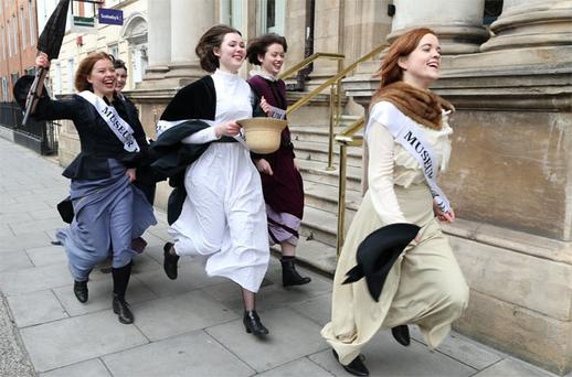 From Left, Sinead Mercier, Aine Kelly, Ciara Greene and Louise Fitzgerald in period dress at the launch of the campaign for a permanent home for the new Women's Museum of Ireland