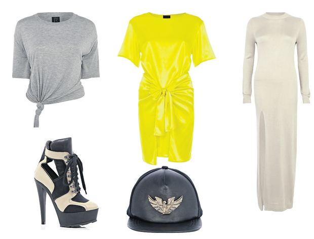 Rihanna for River Island: knitted T-shirt, €25, yellow dress with wraparound detail,€99, knitted dress, €80, leather baseball cap €32, lace-up ankle boots, €125