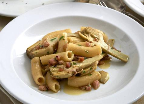 Rigatoni with artichokes, anchovies and bacon by Neil Perry. Photo: Earl Carter.