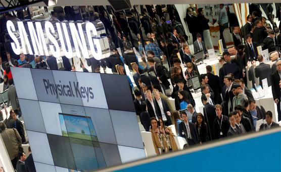 The Samsung stand at Mobile World Congress 2013