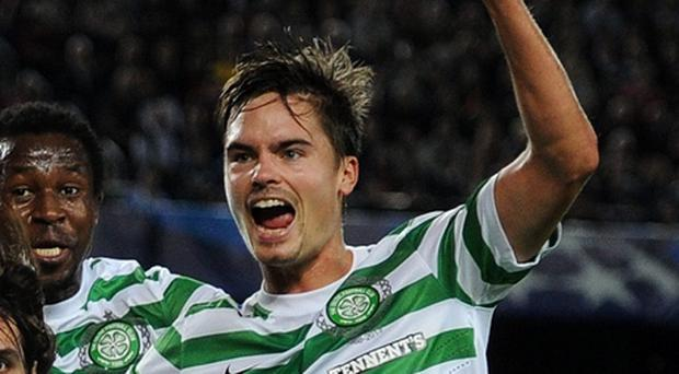 Mikael Lustig celebrates after Georgios Samaras scores against Barcelona at the Nou Camp. Picture: Jasper Juinen/Getty Images.