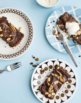 Smooth and crunchy: Bill's chocolate and peanut-butter tart.