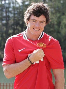 McIlroy tweeted this pic of himself in his Man Utd jersey just before kick off last night