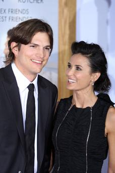Actors Ashton Kutcher and Demi Moore arrive for the Los Angeles premiere of