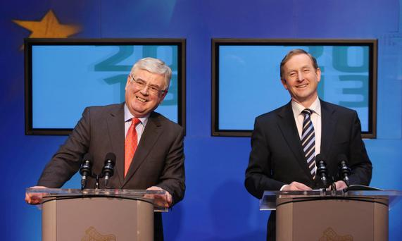 Taoiseach Enda Kenny and Tanaiste Eamon Gilmore hold a press conference to mark the Government's second year in office