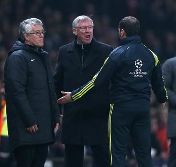 Manchester United boss Alex Ferguson reacts after Nani is sent off