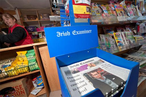 Copies of the 'Irish Examiner' on sale in a shop in Cork