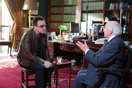 Bono with President Michael D Higgins at Aras an Uachtarain for the filming of 'Glaoch – The President's Call', a celebration of Irish culture, to be broadcast on RTE on St Patrick's Day
