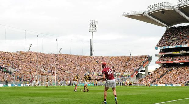 Joe Canning scores the point for Galway in last year's All-Ireland SHC final that levelled the scores and sent the game to a replay