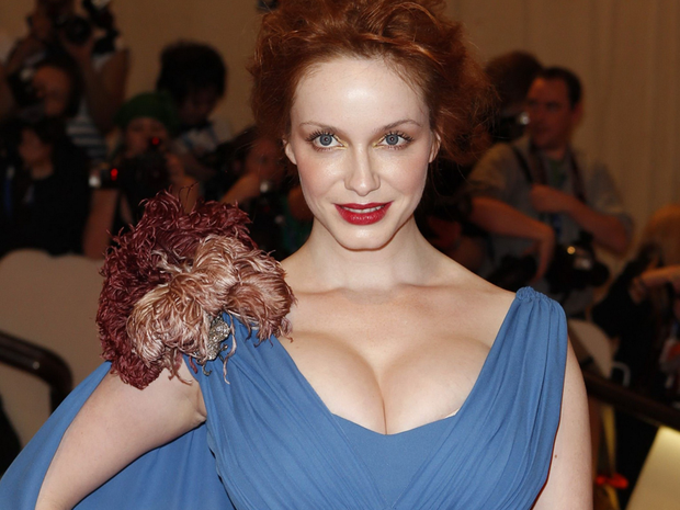 Christina Hendricks displays a 'quadraboob'- caused by bras which are too tight that make the breast spill over the top of the cup