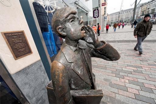 The iconic Echo Boy statue on Cork's St Patrick's Street which replicates the old Evening Echo newspaper sellers