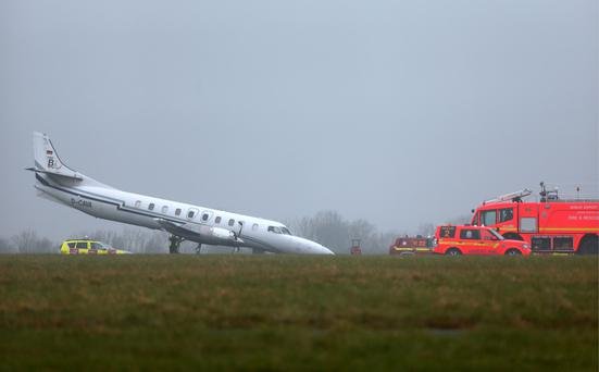 The plane after crashing in Dublin Airport