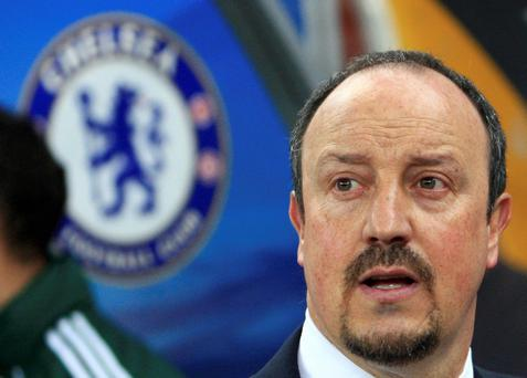 Chelsea's manager Rafael Benitez looks on before the start of his team's Europa League game