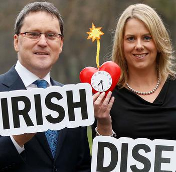 RTE presenter George Lee and UCD lecturer Dr Orina Belton at the launch of the new charity, Irish Heart Disease Awareness