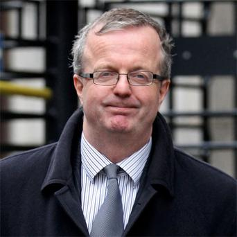 Cliff Taylor, editor of the troubled Sunday Business Post, leaving court yesterday after the examinership application hearing