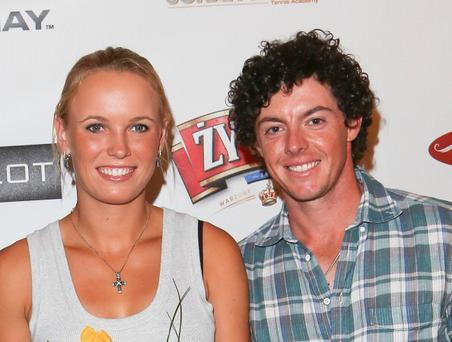 NEW YORK, NY - AUGUST 25: Caroline Wozniacki and Rory McIlroy attend the 2012 US Open party hosted by Poland's Consul General at Beaux Arts De Lamar Mansion on August 25, 2012 in New York City. (Photo by Charles Norfleet/Getty Images)