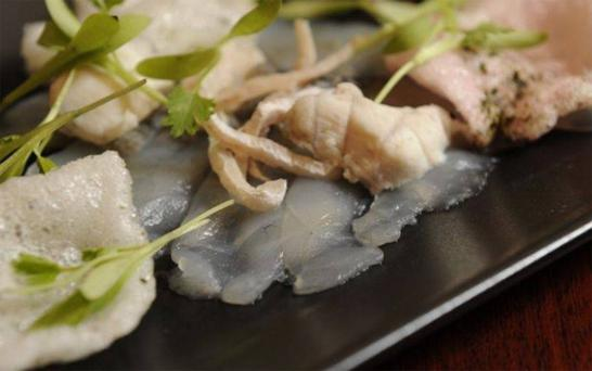 Deadly Japanese pufferfish served at the Cafe de Mort pop-up.
