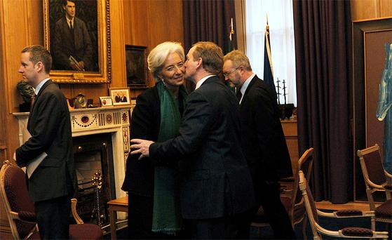 Taoiseach Enda Kenny greets Christine Lagarde at Government Buildings