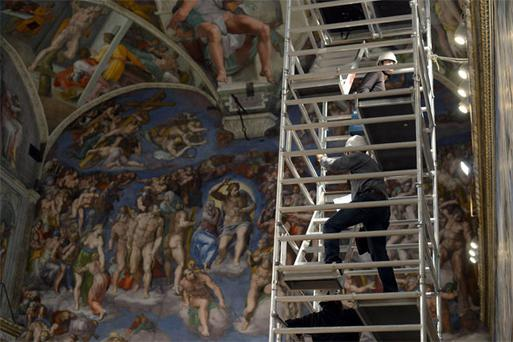 Workers prepare the Sistine Chapel for the imminent conclave. But how will the Irish church deal with changes?