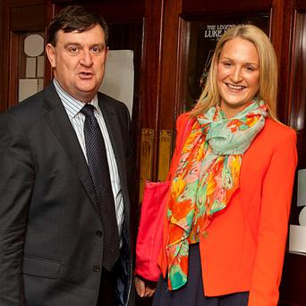 Helen McEntee and her uncle Alan at the Fine Gael selection convention in Kells.
