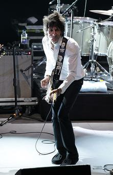 Ronnie Wood performs on stage during the 2013 NME Awards last month