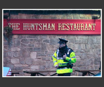 Garda pictured outside the Huntsman Inn at Gormanstown earlier this week