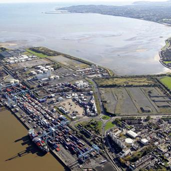 An aerial view of the Glass Bottle site at Ringsend, beside Dublin Port.