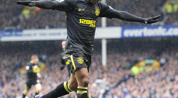 Wigan Athletic's Maynor Figueroa celebrates scoring his team's first goal. Photo: PA