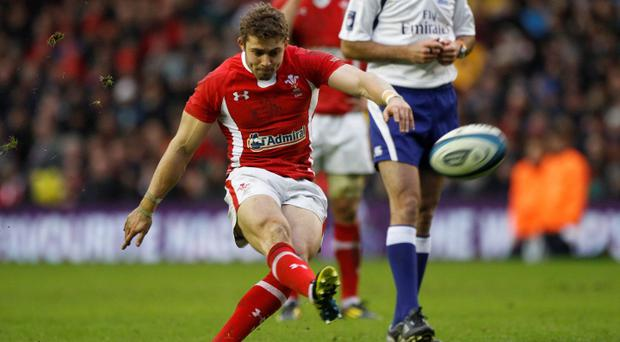Wales' Leigh Halfpenny scores with a penalty kick against Scotland. Photo: Reuters