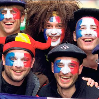 French rugby fans were out in force in Dublin yesterday.