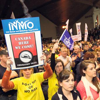 DEAL OR NO DEAL: INMO members at a rally to highlight their opposition to Government plans