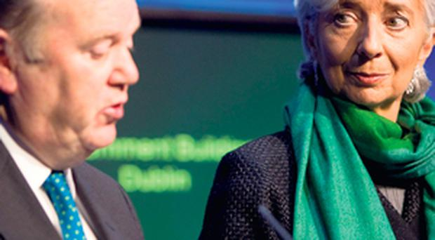 LOSING PATIENCE: Finance Minister Michael Noonan and managing director of the IMF Christine Lagarde.